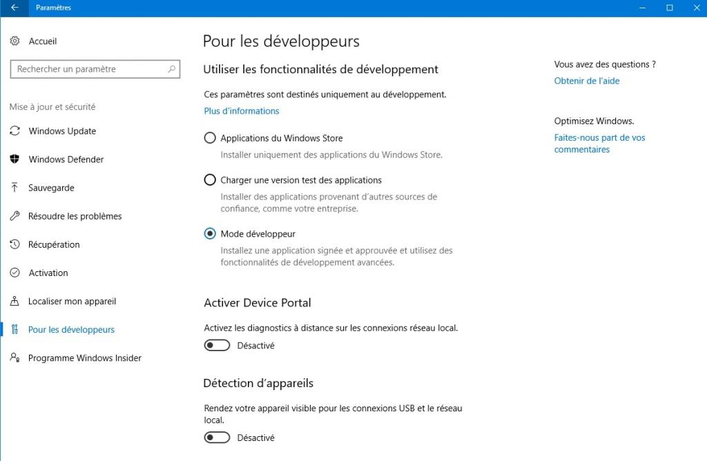 developpeur mode